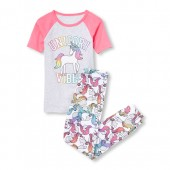 Girls Short Raglan Sleeve 'Unicorn Vibes' Top And Printed Pants Snug-Fit PJ Set