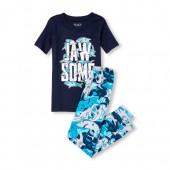 Boys Short Sleeve Glow-In-The-Dark 'Jawsome' Shark Top And Printed Pants Snug-Fit PJ Set
