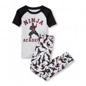 Boys Short Raglan Sleeve 'Ninja Academy' Top And Printed Pants Snug-Fit PJ Set