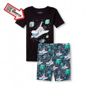 Boys Short Sleeve Glow In The Dark Spaceship Animated Top And Print Shorts Snug Fit Pajamas