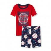 Boys Short Sleeve Glow In The Dark Baseball Top And Print Shorts Snug Fit Pajamas