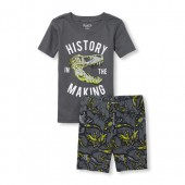 Boys Short Sleeve 'History In The Making' Dino Top And Print Shorts Snug Fit Pajamas