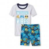 Boys Short Sleeve 'Weekend Vibes' Emoji Top And Print Shorts Snug Fit Pajamas