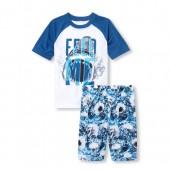 Boys Short Raglan Sleeve 'Feed Me' Shark Top And Print Shorts Pajamas
