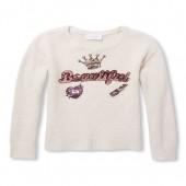Girls Sequin 'Beautiful' Graphic Sweater