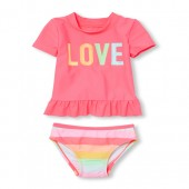Baby And Toddler Girls Short Sleeve Striped Rashguard And Bottoms Two-Piece Swimsuit