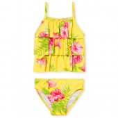 Baby And Toddler Girls Floral Print Flounce Two Piece Tankini Swimsuit