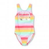 Girls Foil 'Mermaid Squad' Rainbow Striped One-Piece Swimsuit