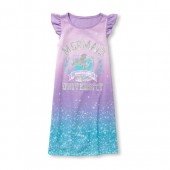 Girls Short Flutter Sleeve Glitter 'Mermaid University' Ombre Print Nightgown