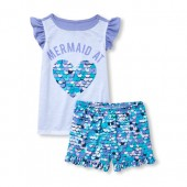 Girls Short Flutter Sleeve 'Mermaid At Heart' Top And Print Shorts Pajamas