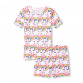 Girls Short Sleeve Glitter Rainbow Unicorn Top And Printed Shorts Snug-Fit PJ Set