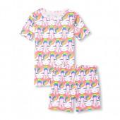 Girls Short Sleeve Glitter Rainbow Unicorn Top And Printed Shorts Snug-Fit PJ Set