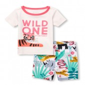 Baby And Toddler Girls Short Sleeve 'Wild One Of The Family' Jungle Top And Print Shorts Snug Fit Pajamas
