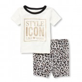 Baby And Toddler Girls Short Sleeve Glitter 'Style Icon' Top And Leopard Print Shorts Snug Fit Pajamas