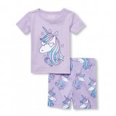 Baby And Toddler Girls Short Sleeve Unicorn Top And Print Shorts Snug Fit Pajamas