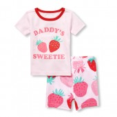 Baby And Toddler Girls Short Sleeve 'Daddy's Sweetie' Strawberry Top And Print Shorts Snug Fit Pajamas