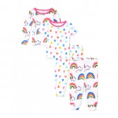Baby And Toddler Girls Rainbow Print Tops And Printed Pants Snug-Fit 4-Piece PJ Set