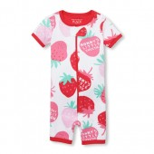 Baby And Toddler Girls Short Sleeve 'Mommy's Little Sweetie' Strawberry Print Cropped Snug Fit Stretchie