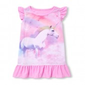 Baby And Toddler Girls Short Flutter Sleeve Rainbow Unicorn Nightgown