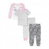 Baby And Toddler Girls Kitty Print Tops And Printed Pants Snug-Fit 4-Piece PJ Set