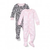 Baby And Toddler Girls Long Sleeve Leopard Queen Snug-Fit Footed Stretchie 2-Pack