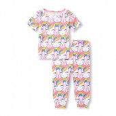 Baby And Toddler Girls Short Sleeve Glitter Rainbow Unicorn Top And Printed Pants Snug-Fit PJ Set