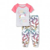 Baby And Toddler Girls Short Raglan Sleeve 'Unicorn Squad' Top And Printed Pants Snug-Fit PJ Set