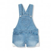 Girls Crochet Denim Shortall
