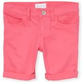 Girls Solid Woven Roll-Cuff Skimmer Shorts