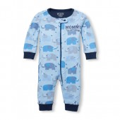 Baby And Toddler Boys Long Sleeve 'Mommy Loves Me' Elephant Print Snug Fit Stretchie