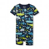Baby And Toddler Boys Short Sleeve Shark Print Cropped Snug Fit Stretchie