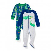 Baby And Toddler Boys Long Sleeve Hungry Gator Snug-Fit Footed Stretchie 2-Pack
