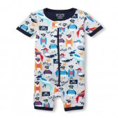 Baby And Toddler Boys Short Sleeve Pirate Birds Print Cropped Snug Fit Stretchie