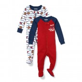 Baby And Toddler Boys Long Sleeve Baseball Snug-Fit Footed Stretchie 2-Pack