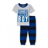 Baby And Toddler Boys Short Sleeve 'Straight Up Mama's Boy' Top And Printed Pants Snug-Fit PJ Set
