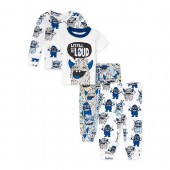 Baby And Toddler Boys 'Little But Loud' Monster Tops And Pants 4-Piece Snug-Fit PJ Set