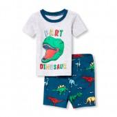 Baby And Toddler Boys Short Sleeve 'Part Dinosaur' Top And Print Shorts Snug Fit Pajamas