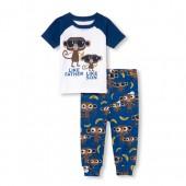Baby And Toddler Boys Short Raglan Sleeve 'Like Father Like Son' Monkey Top And Printed Pants Snug-Fit PJ Set