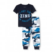 Baby And Toddler Boys Short Sleeve Glow-In-The-Dark 'Amazing' Top And Printed Pants Snug-Fit PJ Set