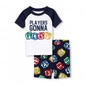Baby And Toddler Boys Short Raglan Sleeve 'Players Gonna Play' Top And Print Shorts Snug Fit Pajamas