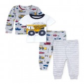 Baby And Toddler Boys Construction Truck Tops And Pants 4-Piece Snug-Fit PJ Set