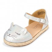 Toddler Girls Cat Face Metallic Espadrilles