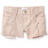 Girls Exposed Pocket Distressed Woven Shortie Shorts