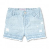 Baby And Toddler Girls Distressed Denim Shorts