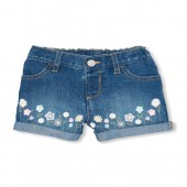 Baby And Toddler Girls Floral Embroidered Denim Shorts