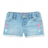 Baby And Toddler Girls Heart Embroidered Denim Shorts