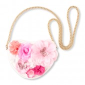 Girls Glitter Flower Heart Bag