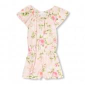 Girls Short Ruffle Sleeve Floral Print Woven Romper