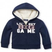 Baby And Toddler Boys Long Sleeve Active Graphic Full-Zip Faux Sherpa Hoodie