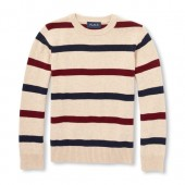 Boys Long Sleeve Contrast Striped Sweater
